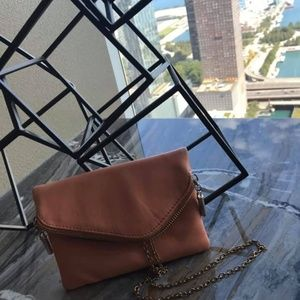 Peach Cosmetic Purse 👛 with Gold Strap